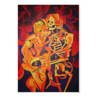 Het omhelzen van Dood in Halloween 12,7x17,8 Uitnodiging Kaart