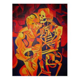 Het omhelzen van Dood in Halloween Briefkaart