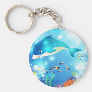 Het onderwater ontwerp van het dolfijnkunstwerk basic ronde button sleutelhanger