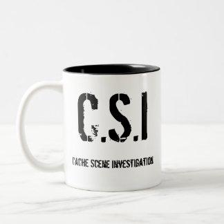 Het Onderzoek van de Scène van het geheime Tweekleurige Koffiemok