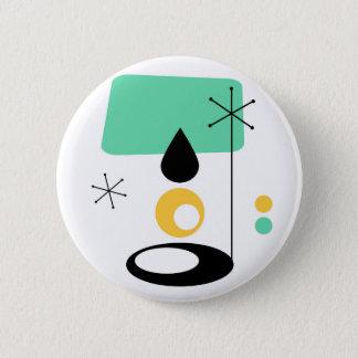 het ontwerp blauw goud van de midden van de eeuw ronde button 5,7 cm