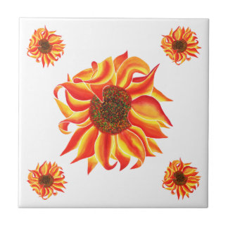 Het ontwerp decoratieve tegel van de zonnebloem tegeltje