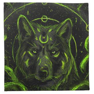 Het ontwerp grafische koele anime blik van de wolf servet