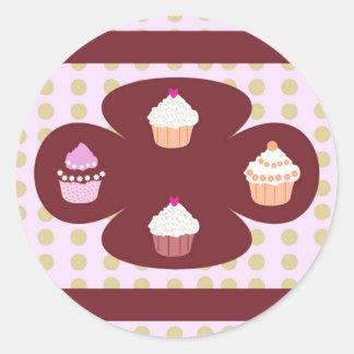 Het Ontwerp van Cupcakes Ronde Stickers