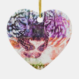 Het Ontwerp van de Kat van Jaguar van de regenboog Keramisch Hart Ornament