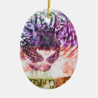 Het Ontwerp van de Kat van Jaguar van de regenboog Keramisch Ovaal Ornament