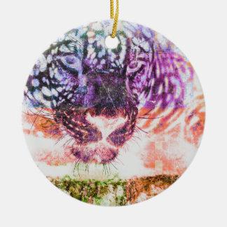 Het Ontwerp van de Kat van Jaguar van de regenboog Rond Keramisch Ornament