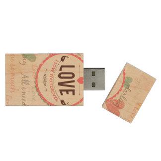 """Het ontwerp van de Valentijnsdag van de """"liefde"""" Houten USB 2.0 Stick"""