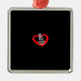 Het Ontwerp van het Hart van de kaars voor de Zilverkleurig Vierkant Ornament