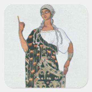 Het ontwerp van het kostuum van Phedre, 1917 Vierkant Stickers