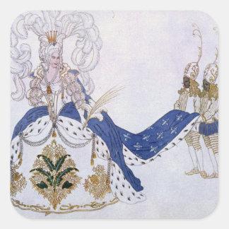 Het ontwerp van het kostuum voor de Koningin en Vierkant Stickers