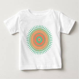 Het ontwerp van Mandala groene, oranje Indiër Baby T Shirts