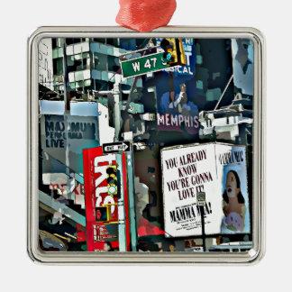 Het Ontwerp van Mia NYC van mamma's Zilverkleurig Vierkant Ornament