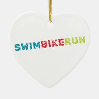 Het ontwerp van Triathlon Keramisch Hart Ornament