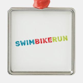 Het ontwerp van Triathlon Zilverkleurig Vierkant Ornament