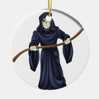 Het onverbiddelijke Skelet van de Dood van de Rond Keramisch Ornament