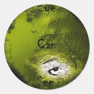 Het oog kan zien ronde sticker