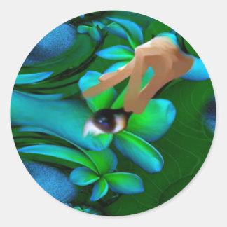Het oog plukte het Product van Bloemen Ronde Sticker