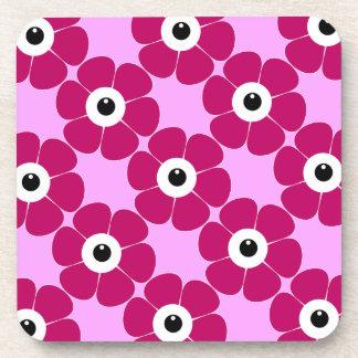 het oog van de roze bloem drankjes onderzetters