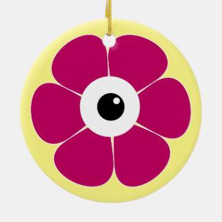 het oog van de roze bloem rond keramisch ornament