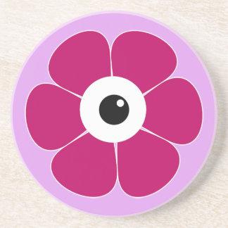 het oog van de roze bloem zandsteen onderzetter