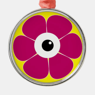 het oog van de roze bloem zilverkleurig rond ornament