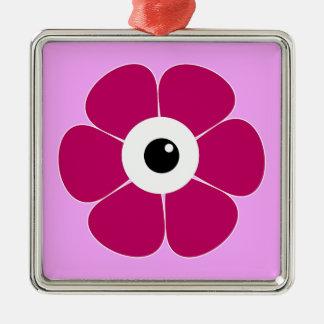 het oog van de roze bloem zilverkleurig vierkant ornament