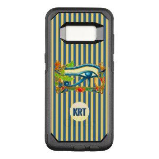 Het Oog van het monogram van Horus op goud en OtterBox Commuter Samsung Galaxy S8 Hoesje