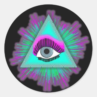 Het oog ziet u! ronde sticker