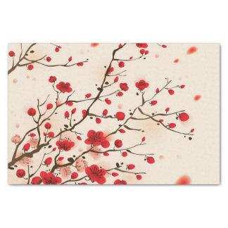 Het oosterse stijl schilderen, pruimbloesem in de tissuepapier