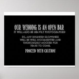 Het open Teken van de Bar Poster