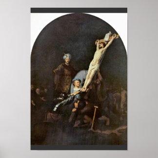 Het Opheffen van het Kruis. Door Rembrandt Van Poster