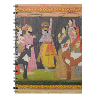 Het opheffen van Krishna zet Govardhana, van 'Bhag Ringband Notitieboek