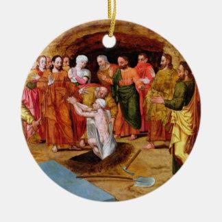 Het Opheffen van Lazarus Rond Keramisch Ornament