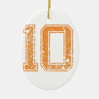 Het oranje Aantal 10.png van Jerzee van Sporten Keramisch Ovaal Ornament