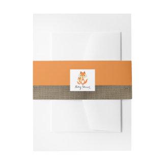 Het oranje Baby shower van de Jute van de Vos Uitnodigingen Wikkel