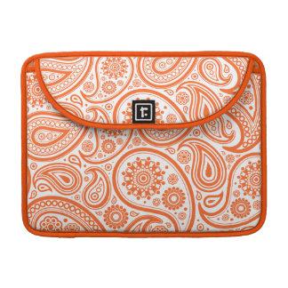 Het oranje BloemenPatroon van het Monogram van Sleeve Voor MacBook Pro