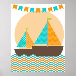 Het oranje en Blauwgroen ZeevaartPoster van het Ki Poster