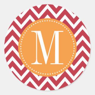 Het oranje en Donkerrode Monogram van de Douane Ronde Sticker