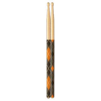 Het Oranje en Grijze Patroon van Halloween Argyle Drumstokkies 0