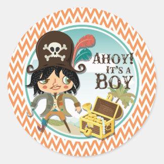 Het oranje en Witte Baby shower van de Piraat van Ronde Sticker