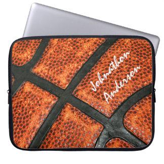 Het oranje en Zwarte Patroon van het Basketbal met Computer Sleeve