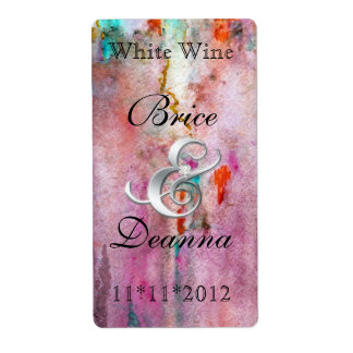 Het oranje Etiket van de Wijn van het Huwelijk van Verzendlabel