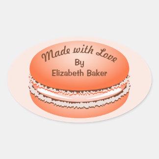 Het Oranje Gepersonaliseerde Koekje Macaron van Ovale Sticker