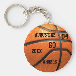 Het oranje leer Keychain van het basketbal met Basic Ronde Button Sleutelhanger
