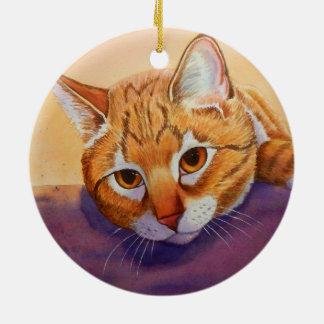Het oranje Ornament van Kerstmis van de Gestreepte