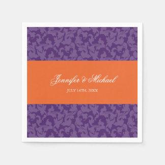 Het oranje Paarse Gepersonaliseerde Huwelijk van Wegwerp Servetten
