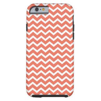 Het oranje Patroon van de Chevrons van de Zigzag Tough iPhone 6 Hoesje