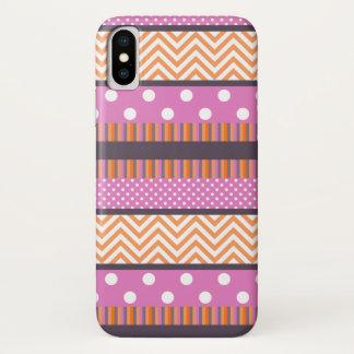 Het oranje & Roze Patroon van de Chevron van de iPhone X Hoesje