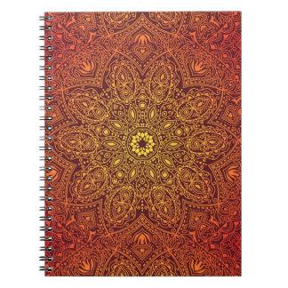 Het oranje SierPatroon van het Kant Ringband Notitieboek